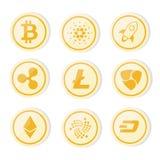 O logotipo de Cryptocurrency ajustou o bitcoin da versão da moeda de ouro, litecoin, ethereum, ondinha, traço, nem imagem de stock