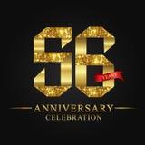 56.o logotipo de la celebración de los años del aniversario Número del oro de la cinta del logotipo y cinta roja en fondo negro Fotografía de archivo libre de regalías