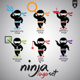 O logotipo de Ninja ajustou 4 Fotos de Stock