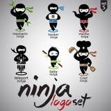 O logotipo de Ninja ajustou 5 Foto de Stock Royalty Free