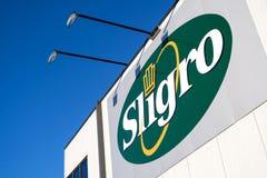 O logotipo de Sligro no dinheiro & leva o mercado Fotografia de Stock