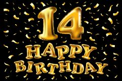 14o logotipo do feliz aniversario Cartaz bonito do cartão com os fogos-de-artifício do ouro da palavra da caligrafia Elementos de Foto de Stock Royalty Free