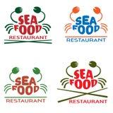 O logotipo do marisco para o restaurante, café, introduz no mercado fresca, barra, emblemas do vetor Foto de Stock Royalty Free