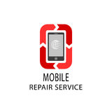 O logotipo do serviço de reparações, fixa o móbil e os dispositivos da tabuleta Imagens de Stock