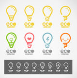 O logotipo e o símbolo projetam a luz & o conceito de ECO Imagem de Stock Royalty Free