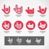 O logotipo e o símbolo projetam a mão da rocha e a mão do amor ilustração do vetor
