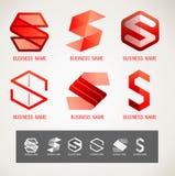O logotipo e o símbolo projetam o conceito de S, mínima moderno, ilustração do vetor imagem de stock royalty free