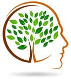 O logotipo humano da árvore gosta do cérebro ilustração stock