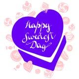 O logotipo o mais doce do dia da caixa dos doces, estilo simples ilustração do vetor