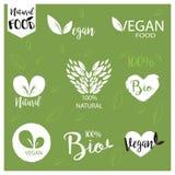 O logotipo natural, bio, fresco, saudável do alimento ajustou-se no vetor Imagens de Stock