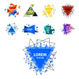 O logotipo sagrado do sumário do triângulo da geometria figura a ilustração criativa do vetor do triangulum do polígono místico d Imagens de Stock