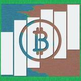 O logotype de Bitcoin com sombras e as linhas no esboço formatam ilustração 3D para cartas financeiras do relatório dos dados com Imagem de Stock Royalty Free