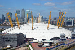 O2. London, UK - May, 26: view of the O2 arena and Canary Wharf in London, UK on May 26, 2015. The O2 arena is a large entertainment complex near Greenwich Royalty Free Stock Photography