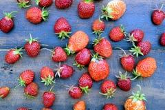 O lote de morangos apetitosas maduras dispersou no close up de madeira da opinião superior do fundo do vintage velho Imagem de Stock Royalty Free