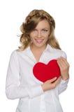O louro de sorriso si mesmoempurra- o coração para Foto de Stock Royalty Free