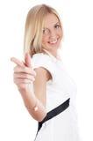 O louro encantador alegre em uma camisa branca Foto de Stock Royalty Free