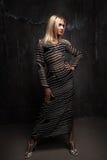 O louro lindo no vestido transparente fotografou no crescimento completo Imagem de Stock Royalty Free