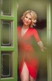 O louro novo encantador com o vestido vermelho que levanta em um verde pintou o quadro de porta Jovem mulher lindo sensual no equ Imagem de Stock Royalty Free