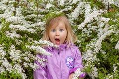 O louro pequeno abriu sua boca largamente Fotos de Stock Royalty Free