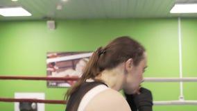 O lutador da menina no anel simula uma luta da sombra vídeos de arquivo