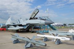 O lutador de múltiplos propósitos MiG-29K KUB do russo no airshow MAKS-2017 Imagens de Stock Royalty Free