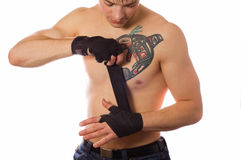 O lutador de rua está preparando-se para lutar Foto de Stock Royalty Free