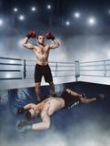 O lutador ganha a greve Imagem de Stock