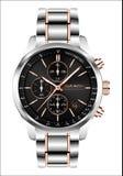 O luxo branco de cobre de aço do número da cara preta do cronógrafo realístico do relógio de pulso de disparo para homens isolou  ilustração do vetor