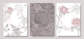 O luxo carda a coleção com textura de mármore, as flores desenhados à mão e forma geométrica Fundo na moda do vetor Grupo moderno ilustração royalty free