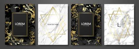 O luxo carda a coleção com textura de mármore e forma geométrica do ouro Fundo na moda do vetor Grupo moderno de sumário ilustração do vetor