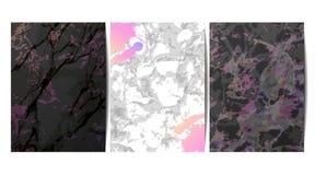 O luxo carda a coleção com textura de mármore Fundo na moda do vetor Grupo moderno de cartão abstrato, molde, cartazes, com convi ilustração royalty free