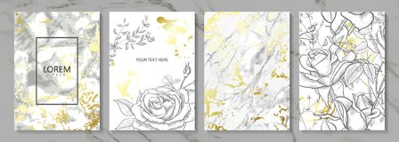 O luxo carda a coleção com textura dourada de mármore e as flores desenhados à mão Fundo na moda do vetor Grupo moderno de ilustração stock