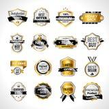 O luxo etiqueta o ouro e o preto ilustração royalty free