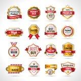O luxo etiqueta o ouro e o vermelho ilustração stock