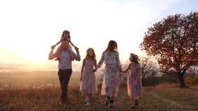 O luxo novo feliz vestiu a família que anda no parque do outono durante o por do sol vídeos de arquivo