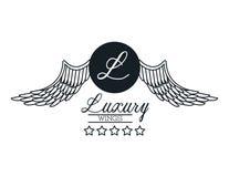 O luxo voa o emblema ilustração stock