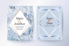 O mármore e o ouro azuis texture o fundo, cartão Imagem de Stock