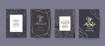 O mármore e o ouro pretos texture o fundo, cartão Imagens de Stock