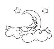 O mês alegre nubla-se as estrelas que colorem a página Imagens de Stock