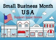 O mês da empresa de pequeno porte, EUA, apoia lojas locais Imagem de Stock