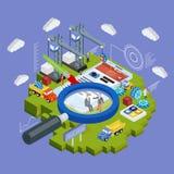 O móbil 3d e o smartwatch isométricos lisos projetam o vetor infographic do conceito da Web Imagem de Stock Royalty Free