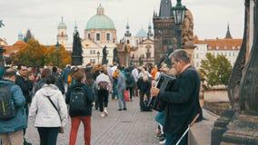 O músico da rua com um acordeão joga e canta músicas em Charles Bridge, Praga, República Checa vídeos de arquivo