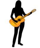 O músico e a guitarra. Imagens de Stock Royalty Free