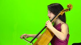 O músico joga o violoncelo profissionalmente Tela verde Vista lateral video estoque