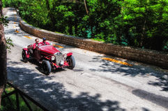 O.M. 665 SS MM 1930. PESARO, ITALY - MAY 15: old racing car in rally Mille Miglia 2015 the famous italian historical race 1927-1957 on May 15 2015 Royalty Free Stock Image