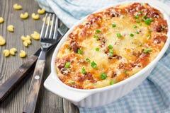 O Mac e o queijo dos amantes do bacon Fotografia de Stock