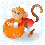 O macaco com tangerina Fotos de Stock Royalty Free