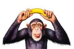 O macaco que guarda a banana cede sua cabeça Fotos de Stock Royalty Free