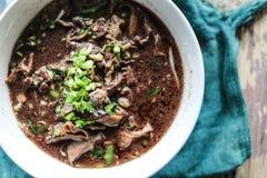 o macarronete com mistura de sopa do sangue do porco com carne de porco e vegetal Imagem de Stock