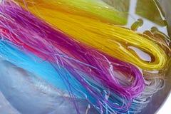 O macarronete seco colorido embebe na água Imagens de Stock